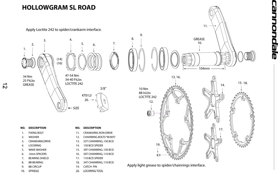 14e9145cb89 Cannondale Hollowgram SL Road Crankset Parts List and Exploded Diagram